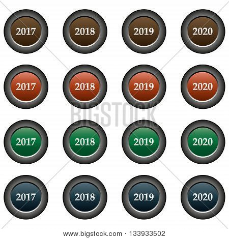 Collection of 16 isolated multicolor buttons (icons) - years (2017, 2018, 2019, 2020)