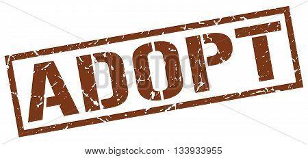 Adopt Stamp. Vector. Stamp. Sign. Adopt. Brown.