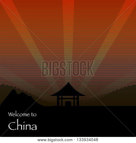Welcome to chine texture poster. Chinese background pattern, traditional building architecture. Vector illustration