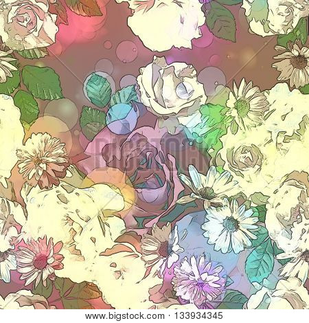 art vintage colored blurred floral seamless pattern with white roses, asters and peonies on purple background. Bokeh effect