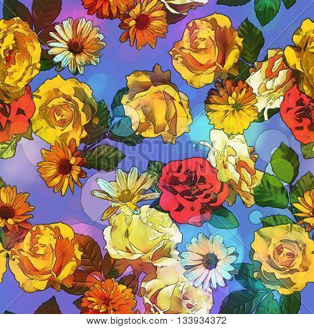 art vintage colored blurred floral seamless pattern with gold yellow, red and white roses, asters and peonies on blue background. Bokeh effect