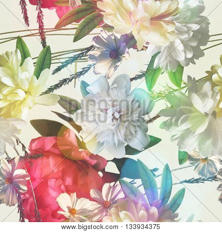 art vintage colored blurred floral seamless pattern with white and red peonies on white background. Bokeh effect
