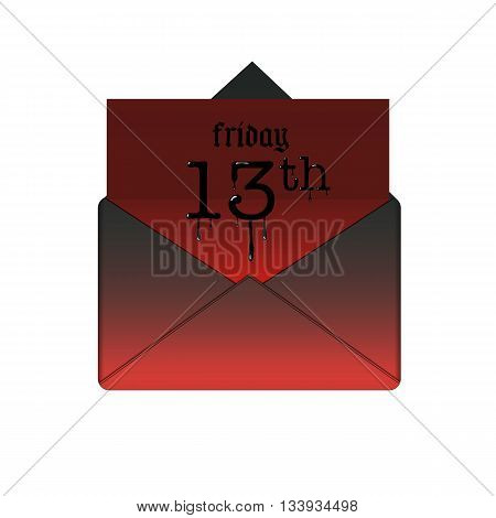 Friday the 13th banner in envelope. Mystery date or scary day, illustration message with paper red sheet vector