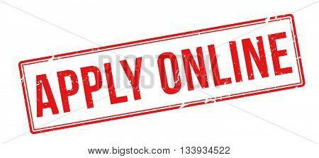 Apply Online Red Rubber Stamp On White