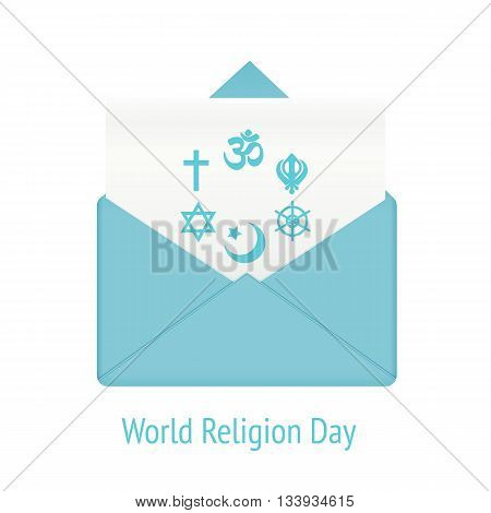 World religion day concept. Message in envelope with community international religion islam and catholicism, vector illustration