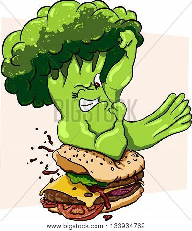 Broccoli vs burger, healthy food vs fast food, competition.