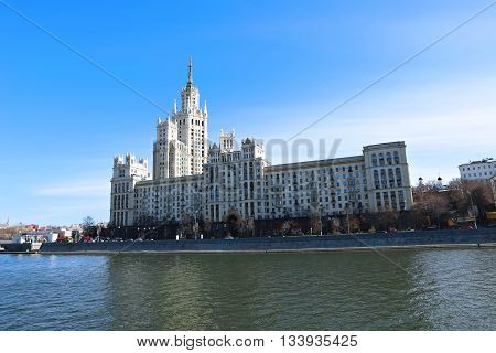 MOSCOW, RUSSIA - APRIL 11, 2015: Residential building on Kotelnicheskaya Embankment in Moscow