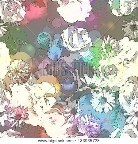art vintage colored blurred floral seamless pattern with roses, asters and peonies on dark purple background. Bokeh effect