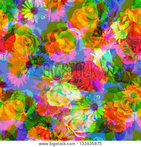 art vintage colored blurred floral seamless pattern with white, gold and red roses and peonies on blue background. Double Exposure effect
