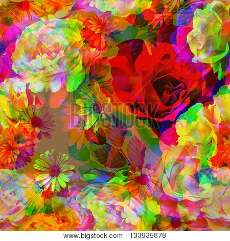 art vintage colored blurred floral seamless pattern with white, gold and red roses and peonies on brown background. Double Exposure effect