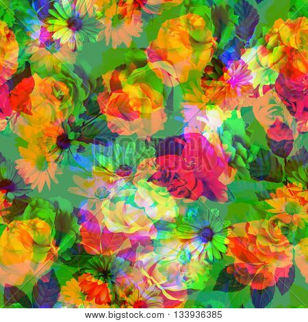 art vintage colored blurred floral seamless pattern with white, gold and red roses and peonies on green background. Double Exposure effect