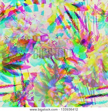 art vintage colored blurred floral seamless pattern with white peonies on white background. Double Exposure effect