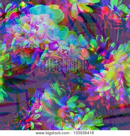 art vintage colored blurred floral seamless pattern with white peonies on purple violet background. Double Exposure effect