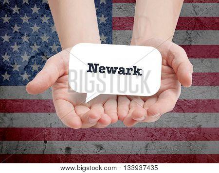 Newark written in a speechbubble
