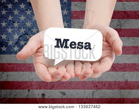 Mesa written in a speechbubble
