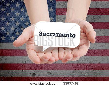 Sacramento written in a speechbubble