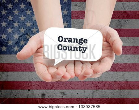 Orange County written in a speechbubble