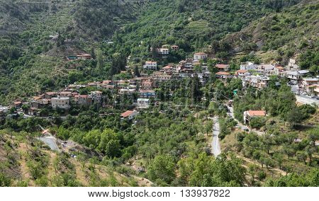 Famous picturesque Mountain Village resort of Askas in Nicosia district at Troodos mountains in Cyprus.