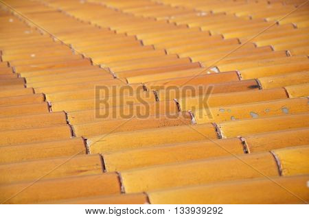 An abstract image of a terra cotta and glazed tile roof within the forbidden city beijing china.
