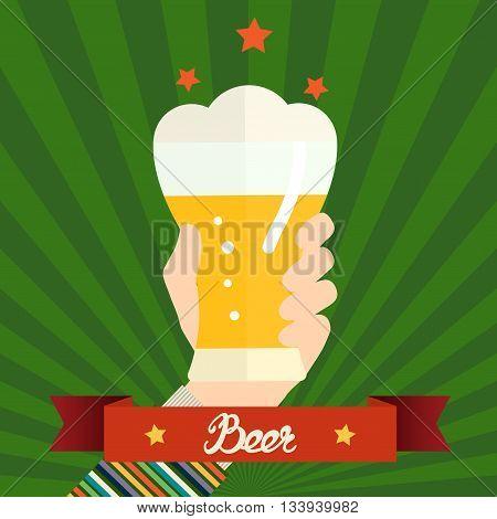 Flat design vector illustration concept for oktoberfest. Hand hold beer can. Vector design