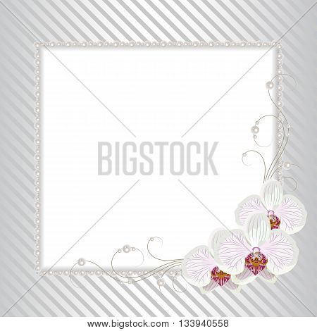 Beautiful square frame with white orchids and pearls on striped background for greeting card or invitation design.