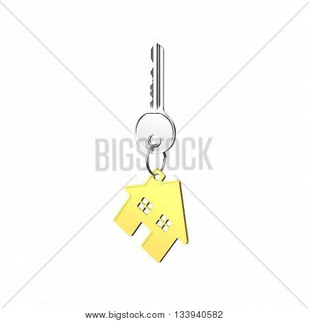 Silver Key With House Shape Keyring, 3D Rendering