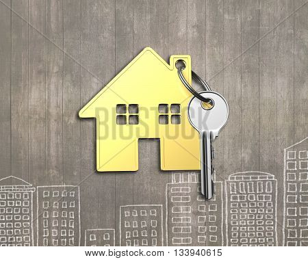 Golden House With Key On Wooden Background, 3D Rendering