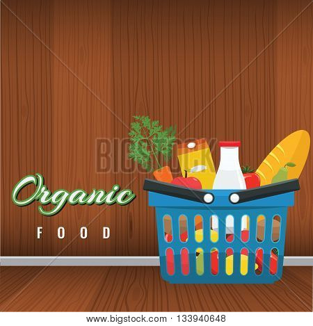 Shopping basket with foods. Fruits and vegetables in the blue basket with wood interior background. Organic food concept vector flat illustration