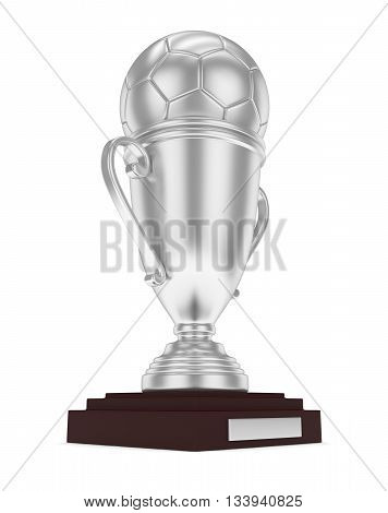 Silver cup and silver ball on white background. 3D rendering.