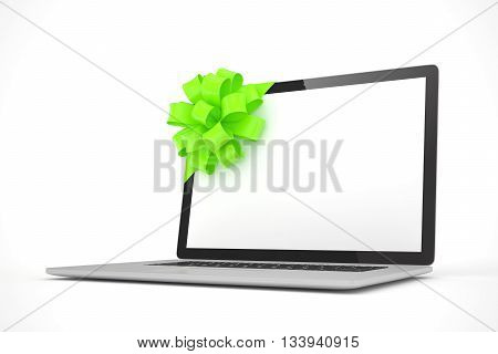 Tied laptop with green bow on white background. Modern present or gift for birthday, holiday, christmas. 3D rendering.