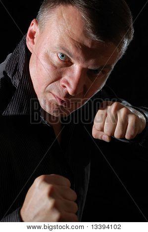 Aggressive Man Boxing