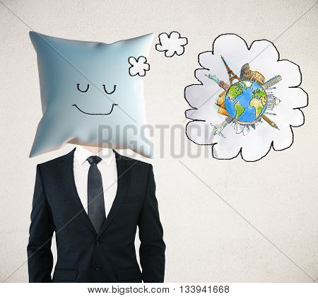 Sleeping businessman with smiley on pillow instead of head dreaming about traveling