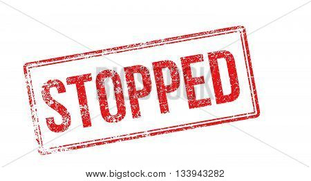 Stopped Red Rubber Stamp On White