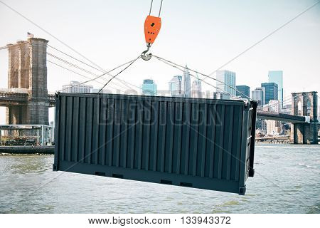 Crane hook with black cargo on city background. 3D Rendering
