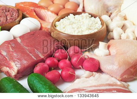 Products containing proteins and fats, close up