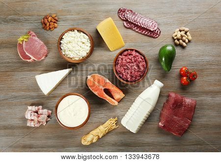 Dairy products and meat on table