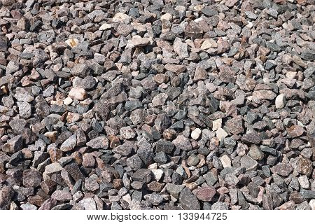 Stones. Material construction crushed from granite of gray color