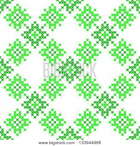 Seamless texture with green abstract patterns for tablecloth.Embroidery.Cross stitch.