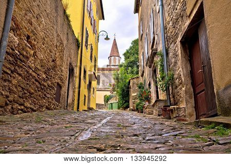 Old adriatic town of Buje stone street Istria Croatia