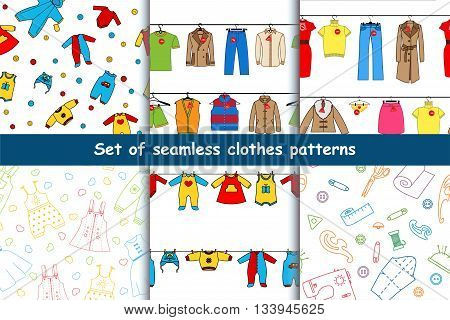 Set of vector seamless patterns with clothes. A collection of bright, beautiful, backgrounds with the image of women's, men's, children's clothing hanging on a clothesline.