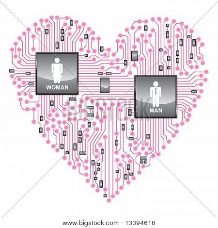 Heart Circuit board, online love
