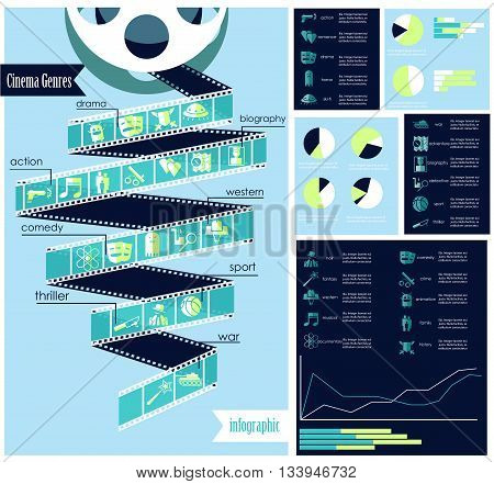 Vector set of cinema genres infographic with icons different charts rates grahic