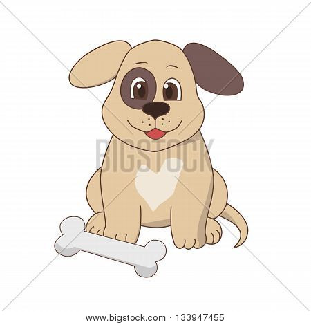 Vector cartoon isolated illustration of a puppy with a bone