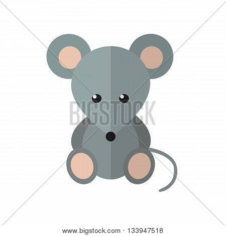 Vector illustration funny mouse in the flat style. Lovely pet animal cartoon style.