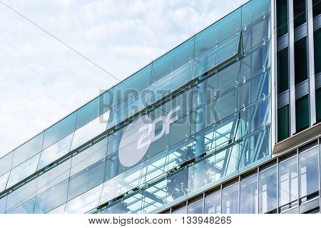 HAMBURG, GERMANY - MAY 22, 2016: Modern architecture of ZDF television offices in Hamburg. German TV