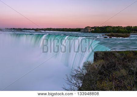 View of Niagara Falls, Ontario, Canada during sunset