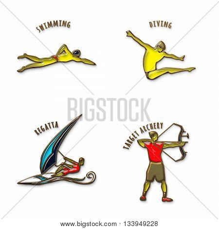 Athlete Icon. Swimming. Diving. Regatta. Target Archery. Summer games icons. Sport icons set with sportsmen for any competition or championship design. Original 3D Illustration. Gold and colored glass
