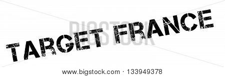 Target France Black Rubber Stamp On White