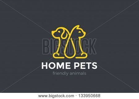 Home pets Logo dog cat design Linear Animals Veterinary clinic