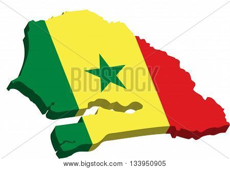 A map of Senegal 3D on white background